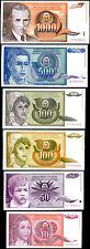YUGOSLAVIA SET 6 PCS 10 50 100-1000 DINARA 1990-91 P 103 104 105 106 107 108 UNC