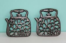 "Set of 2 Metal Teapot Kettle Shaped Trivets Pot Holder Made in China 4.75""x4.5"""