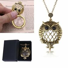 Vintage Magnifying Glass Gold OWL Pendant Necklace Box Chain Gift For Grandma
