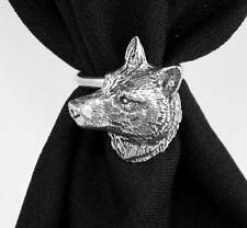 Wolf's Head Scarf Ring, English Pewter, Handmade in Great Britain, wolf (ab)