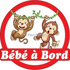 Decal Sticker vehicle car Baby à bord Monkeys 16x16cm ref 3575 3575