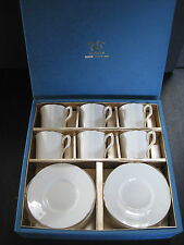 "RARE HANKOOK BONE CHINA ""MADONNA"" CUPS & SAUCERS12 PIECE 14KT GOLD LINE ORIG BOX"