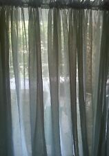 One Pair 2 Panels Dark Green Sage  Mesh Sheer Curtains 52 X 82""