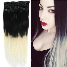 "Clip in Human Hair Extensions 18"" 7pc 70g Ombre colors Natural Hair Black Blonde"