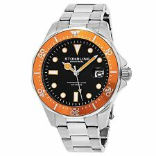 Stuhrling Original Men's 824.04 Aquadiver Date Orange Bezel Stainless Steel Dive
