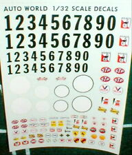 Sponsor Names 0-9 + White Circle Complete sheet Racing Decals Auto World 1/32NOS