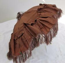 DAMAGED ANTIQUE VICTORIAN WOOD & BROWN  SILK FOLDING CARRIAGE PARASOL c1860