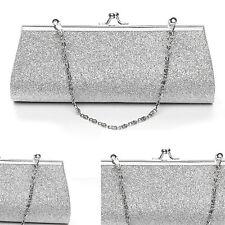 Women Clutch Purse Evening Party Wedding Banquet Handbag Shoulder Bag Silver New