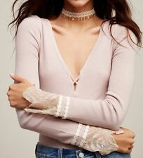 NWT Free People Last Dance Cuff Thermal Top Sz M Medium Sold Out