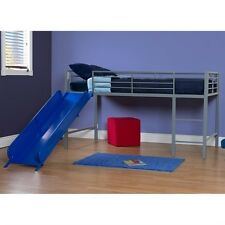 DHP Junior Metal Twin Loft Slide Bed in Silver and Blue Transitional Bunk
