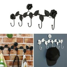 Creative Vintage Rose Flower Hook Clothes Rack Robe Key Holder Hat Hanger Wall H