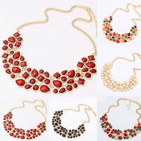 Fashion Jewelry Rhinestone Chunky Statement Bib Pendant Chain Choker Necklace
