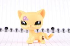 Littlest Pet Shop Standing Cat #1962 Short Hair Yellow Purple Flowers LPS