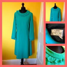 Vintage 60's 70's Ann Michael Emerald Green Frilled Dress UK 16/18 Mod Carnaby