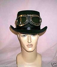 Victorian Steampunk Black Top Hat and Silver Black Aviator Goggles