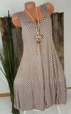 NEU SOMMER STRAND TUNIKA KLEID A-FORM GEPUNKTET POLKA DOTS TAUPE 40-46