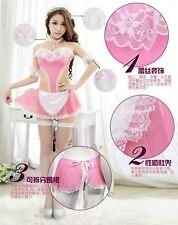 Pink Women French Maid Halloween Costume Lingerie, Cosplay Outfit Fancy Dress