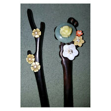 natural carved green yellow jade coral mother of pearl flower hair stick pin set