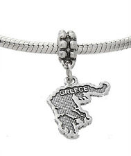 STERLING SILVER DANGLE COUNTRY OF GREECE EUROPEAN  BEAD