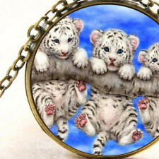 New Cute White Tiger Cat Cubs, Glass Cabochon Necklace, Blue Pendant Jewellery