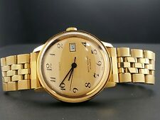 Vintage 1970's Men's Timex Automatic Date Gold Tone Wrist Watch