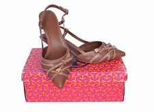 Tory Burch Garima Slingback Heels Capra Leather Almond Brown Shoes Heels 9 $265