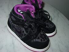 2010 Nike Air Jordan Retro 1 Black/Red Plum/White Toddler Shoes! Size 6C