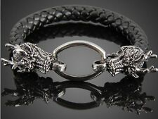 BLACK FAUX LEATHER DRAGON WRISTBAND WRIST STRAP BAND BRACELET CUFF STEAMPUNK