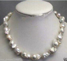 """Large 15-23mm Natural White Baroque Pearl Necklace 18"""""""