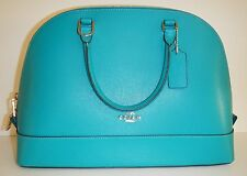 COACH 37218 Turquoise Crossgrain Leather Sierra Dome Satchel NWT