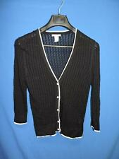 H&M M Black Cardigan Sweater White Trim V Button Sheer Thin Knit Cotton Modal Md