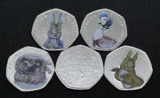 Full Set of Coloured Beatrix Potter 50p Coins - Peter Rabbit Jemima Tiggy Nutkin