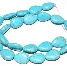NG1093f Light Blue Turquoise 17x13mm Flat Teardrop Magnesite Gemstone Beads 16""