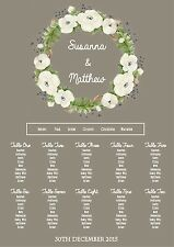 Pretty floral Wreath Wedding table seating plan (A2 available)