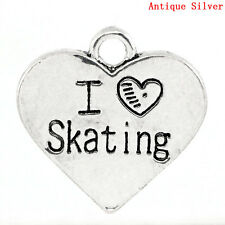 "2 pcs Charm Pendants Heart ""I Love Skating"" Message Carved 17.7x18mm LC0937"