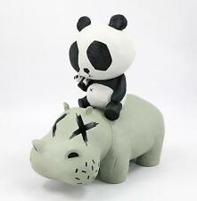 P.R.A.H. PANDA GREY VERSION RIDING A HIPPO DESIGNER VINYL TOY FIGURE CACOOCA