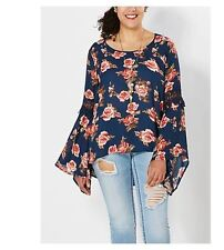 PLUS SIZE 2X 18 20 2XL XXL FLORAL TOP SHIRT BLOUSE BOHO GYPSY BELL SLEEVE TUNIC