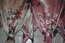 Personalised Bride, bridesmaid, Satin Robe,Dressing Gown wedding robes SET OF 6