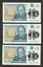 3 x 2016 England £5 Pounds First Polymer With  Early Prefix AC Uncirculated