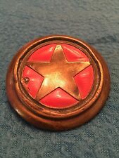 Horse harness bridle rosette / button-- red with star