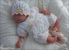 Baby or Reborn Dolls DK Knitting Pattern 2 TO KNIT Amelia' Romper, Hat & Booties