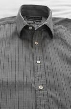 Men's Gieves & Hawkes Formal / School Shirt - Grey & Green Small Check - 16.5''