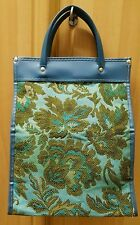 vtg 60s MCM Blue+Green Floral Tapestry+Vinyl Carry-On Luggage Tote Bag Purse euc