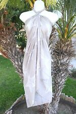 TAUPE LITE BROWN WHITE SEA STAR FISH SHEER SARONG COVERUP SHAWL SCARF DRESS WRAP