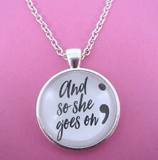 Semi Colon And So She Goes On Necklace New Gift Bag Mental Health Awareness