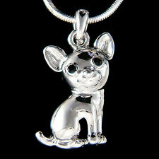 w Swarovski Crystal Tiny Chihuahua DOG Puppy Animal Lover Pendant Chain Necklace