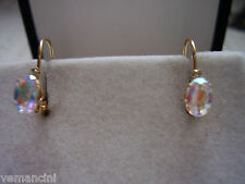 Delicate pair of genuine Tavalite stone 14kt yellow gold leverback earrings