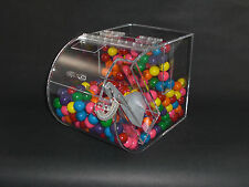 "Bulk food candy cereal nuts spices acrylic bin 7"" wide with false front."