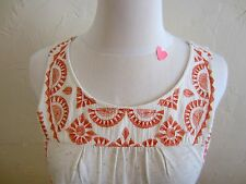 Lucky Women's Size Small Embroidered Tank Top Oatmeal and Orange, Pink, Tan