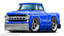 1957 Ford F100 Truck Cartoon Wall Graphic Decal Garage Bar Room Cling Fat Cat
